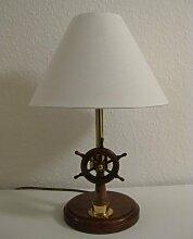 maritime Tisch Lampe Stehlampe 40cm mit Schiffs - Steuerstand Steuerrad Kompass