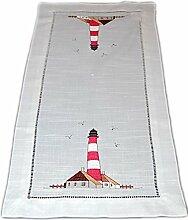 Maritime TISCHDECKE 40x160 cm Leuchtturm Rot Braun