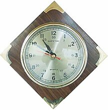 Maritime Uhr, Wanduhr auf Edelholz Platte mit Messingecken 18x18 cm