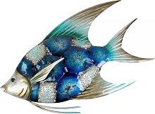 maritime Wanddeko, Wandbild FISH Fisch 44x30cm Metall blau silber Formano (29,00 EUR / Stück)