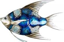 maritime Wanddeko, Wandbild FISH Fisch L. 30cm Metall blau silber Formano (19,90 EUR / Stück)