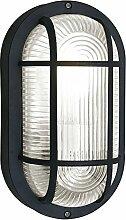Maritime Wandleuchte (Stoßschutz, Maritim, Schwarz, Klar, E27) Außenleuchte Schiffsleuchte Wandlampe