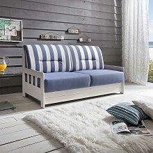 Maritimes Sofa mit Schlaffunktion Blau Weiß