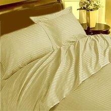 Marke neue 1Stück Spannbetttuch + 2Stück Kissen Fall Classic 350TC beige stripe Euro Large Single 100% ägyptische Baumwolle extra tief Pocket (24Zoll)–von TRP Blatt–B9
