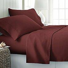 Marken Fadenzahl 10001Stück Spannbetttuch burgund massiv UK Small Single lang Set 100% ägyptische Baumwolle extra tief Tasche (26Zoll) von TRP Bla