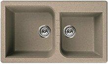 Marken Waschbecken Granit Spüle 2 Becken / FARBAUSWAHL / inkl DREHEXCENTER CHROM / Ab- und Überlaufgarnitur / ab 90 er Unterschrank / Serie VENICE 445 / italienische Qualitätsmarke ELLECI / Material GRANITEK / MADE IN ITALY (AVENA)