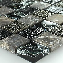 Marmor Glas Mosaik Fliesen Effekt Mosaik Schwarz