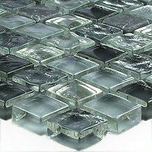 Marmor Glas Mosaik Grau Mix 15x15x8mm