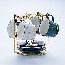 Marmor Keramik Kaffeetasse Dish Löffel Set 200ml