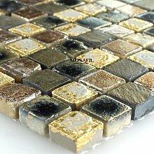 Marmor Stein Naturstein Mosaik Fliesen Gold Braun