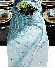 Marmor-Tischläufer, Baumwollleinen, lang, 228 cm,