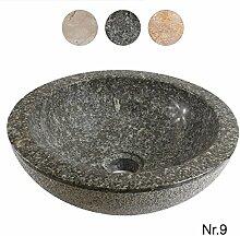 Marmor Waschbecken Handwaschbecken Wasch Becken Aufsatzwaschbecken Bad 33cm Stein Rund Grau Nr. 9