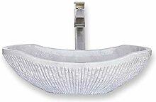 Marmor-Waschbecken, oval, Kanu-Form, 100 %