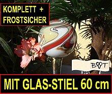 Marmorierte Gartenkugel 60 cm mit Vollglas Stiel orange weiss braun grün GKMG Rosenkugel Kugel
