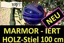 Marmorierte Gartenkugel mit 100 cm Stiel blau violett GKM MASSIV GLAS Gartenkugeln Rosenkugeln