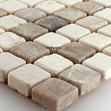 Marmormosaik Fliese Beige Mix Mosaiksteine 15x15mm