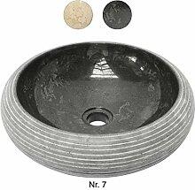 Marmorwaschbecken Aufsatzwaschbecken Waschbecken Handwaschbecken Waschschale Basin Natursteinbecken 40cm Stein Rund Grau Schwarz Nr. 7