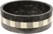 Marmorwaschbecken Waschbecken Handwaschbecken Waschtisch Aufsatzwaschbecken 40cm Marmor Stein Rund Schwarz Dunkelgrau Grau Mosaik Nr. 20