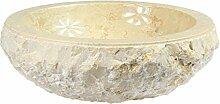 Marmorwaschbecken Waschbecken Stein Becken Basin Bad Waschschale Aufsatzwaschbecken Creme Hell Marmor 36 cm Nr. 4