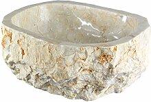 Marmorwaschbecken Waschbecken Stein Becken Basin Bad Waschschale Aufsatzwaschbecken Creme Hell Marmor 38cm Nr. 19