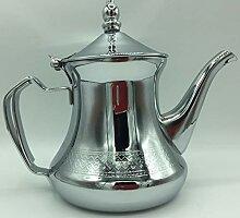 Marokkanische Teekanne aus Edelstahl, dekoriert