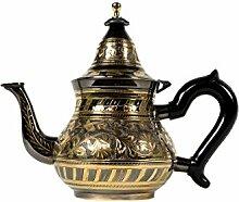 Marokkanische Teekanne aus Messing 800ml mit Sieb