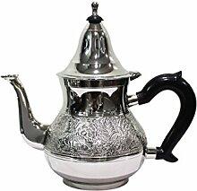 Marokkanische Teekanne aus Messing versilbert 1,6