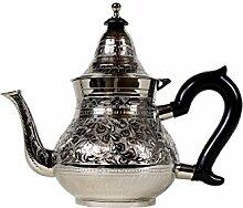 Marokkanische Teekanne aus Messing versilbert