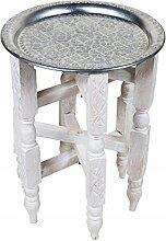 Marokkanischer Landhaustisch Couchtisch Tisch Gohar - Silberfarbig 40cm