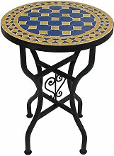 Marokkanischer Mosaiktisch Rund Ø 40 cm Blau-Gelb