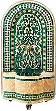 Marokkanischer orientalischer ORIGINAL Mosaik Gartenbrunnen Brunnen Mosaikbrunnen Zimmerbrunnen inklusive Pumpe Alba Grün, 85cm