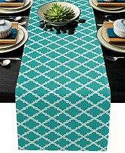 Marokkanischer Tischläufer, Baumwollleinen, lang,