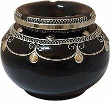 Marokkanischer Windaschenbecher Keramik Schwarz XXL