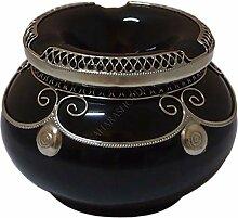 Marokkanischer Windaschenbecher Keramik Schwarz