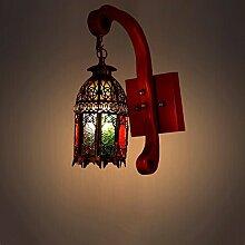 Marokko Massivholz Wandleuchte Mittelmeer-Stil Wandleuchten Eisen Mehrfarbiges Glas Halterung Licht Bar Wandbefestigung Restaurant Halterung Lampe Wandleuchte E27 Lampenfassung