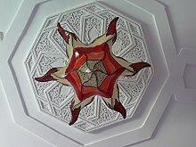Marokko orientalische Decken Lampe Leuchte Henna Leder, Farbe natur