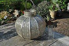 Marokkolampe,Metalllampe,Windlicht,silber,35cm Durchmesser