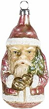 MAROLIN Glas Figur Kleiner Weihnachtsmann patinier