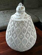 Marrokkanische orientalische Lampe weiss gross 46cm mit Ornamenten und Aufhängung