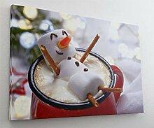 Marshmallow Schneemann Kaffee Coffee Leinwand Bild