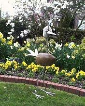 Martha Gartenfigur und Gartendeko als Steinvogel aus Edelstahl Größe X ca 100 cm hoch Design Tiedemann