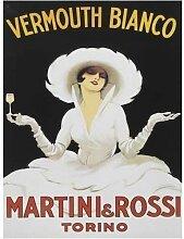 Martini Rossi drink Mädchen Klassisches Cocktail-bar Werbung. Alt vintage drink, werbeanzeige, retro für haus, zuhause, bar oder pub Metall/Stahl Wandschild - 15 x 20 cm