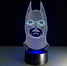 Marvel Hero Batman Maske 3D Logo LED Video Lampe