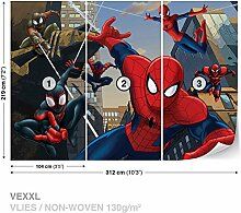 Marvel Spider-Man Vlies Fototapete Tapete Vliestapete Dekoshop Marvel Spiderman AD1275VEXXL (312cm x 219cm) Photo Wallpaper Mural