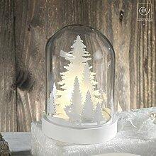 Mascagni Dekoration aus Holz in Glocke-Glas mit 3Lichter LED Batteriebetrieben cm 18