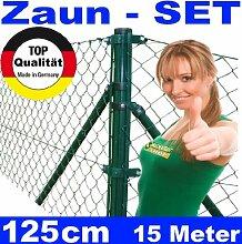 Maschendrahtzaun - SET 125cm 15 Meter lang Maschendrah