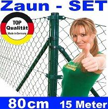 Maschendrahtzaun - SET 80 cm 15 Meter lang Maschendrah