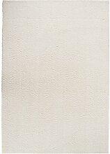 Maschinenwebteppich Hochflorteppich Zottelteppich Shaggyteppich SMOOTH 23 | 65x130 cm | Creme