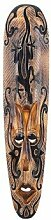 Maske Holzmaske Tamino II mit Gecko Motiv Wanddekoration aus Albesia Holz braun, Höhe 100 cm, Kunsthandwerk im afrikanischen Stil aus Bali Lombok handgefertig