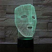 Maske Nachtlicht 3D Schlaflicht LED Licht Blitz